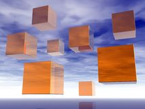 Flying cubes Royalty Free Stock Images