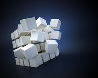 Flying cubes. 3D abstract illustration - flying cubes Royalty Free Stock Photo