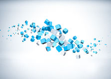 Flying cubes. 3d render of blue flying cubes Stock Image
