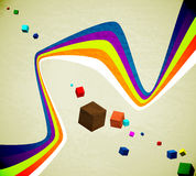 Flying cubes and ribbons Royalty Free Stock Photography