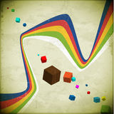 Flying cubes and ribbons Royalty Free Stock Photos