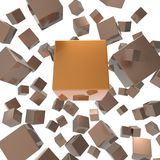Flying cubes on a white background .Abstract 3d rendering of chaotic cubes. Painted drawing concept illustration 3D vector illustration
