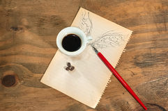 Flying cup of coffee. Stock Image