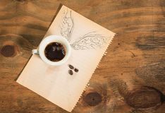 Flying cup of coffee. Stock Photos