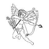 Flying cupid with a arrow Stock Photos