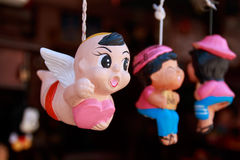 Flying Cupid clay doll for background. valentine love concept. Royalty Free Stock Photography