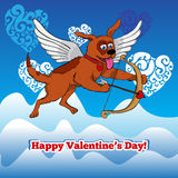 Flying cupid dog with bow and arraw Royalty Free Stock Images
