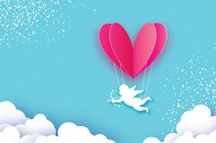 Flying Cupid - little angel. Love Pink Heart in paper cut style. Origami little boy - Cherub.Balloon flying. Happy. Valentine day. Romantic Holidays. 14 Stock Images