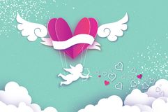 Flying Cupid - little angel. Love Pink Heart in paper cut style. Origami boy - Cherub. Purple hot air balloon flying. Love, angel wings on blue sky. Happy Royalty Free Stock Photography