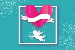 Flying Cupid - little angel. Love Pink Heart in paper cut style. Origami Cherubs. Heart shape hot air balloon flying. Happy Valentine day. Ribbon tape for text Stock Photos