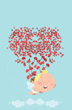 Flying cupid losing his bag of heart arrows Stock Photography