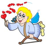 Flying cupid with magic wand Stock Photography