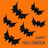 Flying cute bat family. Happy Halloween card.  Flat design. Orange background. Royalty Free Stock Images