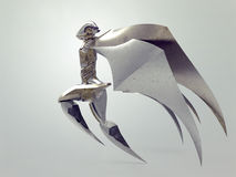Flying cyborg angel/Ancient angel statue Royalty Free Stock Photo