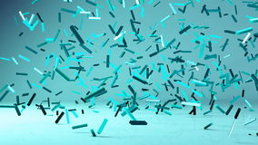 Flying 3d confetty or abstract pieces motion background. Animated elements stock illustration