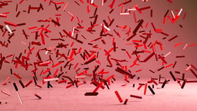 Flying 3d confetty or abstract pieces motion background. Animated elements royalty free illustration