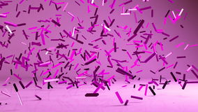 Flying 3d confetty or abstract pieces motion background. Animated elements vector illustration