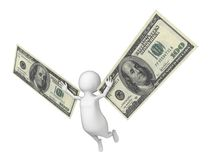 Flying 3D man with a wings made of dollar cash Royalty Free Stock Photo