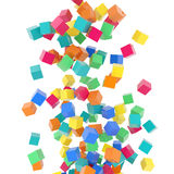 Flying 3d rainbow colored cubes on white background. Colorful abstract 3d plastic rainbow reflective cubes flight composition on white background Royalty Free Stock Images