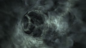 Flying through dark clouds tunnel,loop, stock footage Royalty Free Stock Photo