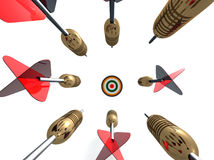 Flying Darts. A 3D scene displaying eight metal body darts with red flyers in the process to each the dart board as if they are racing how�s going to reach Stock Images