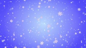 Flying decorative snowflakes. Winter, Christmas, New Year. Blue artistic background. 3D animation stock video