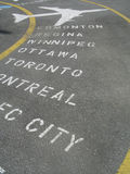Flying destinations. Painted on the pavement Stock Photography