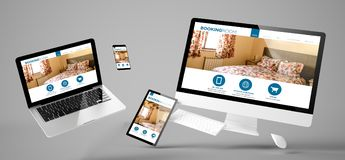 flying devices booking room responsive website Royalty Free Stock Photography