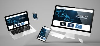 Flying devices innovative technology responsive website. Flying devices with innovative technology website responsive design 3d rendering Stock Photos