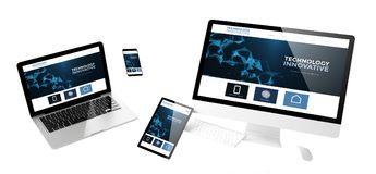 Flying devices innovative technology responsive website. Flying devices with innovative technology website responsive design 3d rendering Royalty Free Stock Images