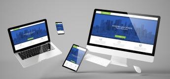 flying devices modern design responsive website Stock Photo
