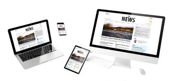 Flying devices newsresponsive website. Flying devices with news website responsive design 3d rendering royalty free stock images