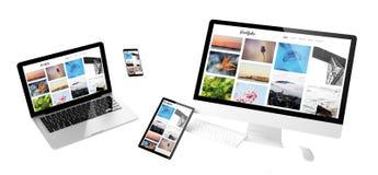 Flying devices portfolio responsive website. Flying devices with portfolio website responsive design 3d rendering stock image