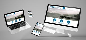 Flying devices web design responsive website. Flying devices with web design website responsive design 3d rendering Royalty Free Stock Image
