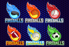 Flying different balls with fire flames on dark background. Design element. Vintage item. Modern professional logo for. Sport team Stock Photo