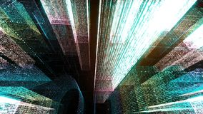 Flying Through the Digital Neon City in telecommunication internet network. 3D rendering. royalty free stock image