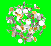 Flying digital currency coins 3D rendering. On green background Royalty Free Stock Photos