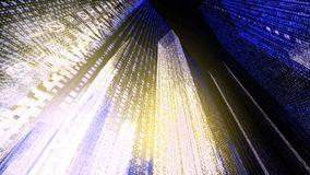 Flying Through the Digital Neon City in telecommunication internet network. 3D rendering. stock photos