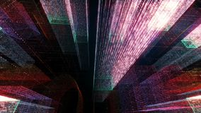Flying Through the Digital Neon City in telecommunication internet network. 3D rendering. royalty free stock photos