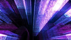 Flying Through the Digital Neon City in telecommunication internet network. 3D rendering. stock photography
