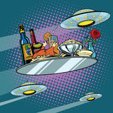 Flying a dinner tray and UFO Royalty Free Stock Photography