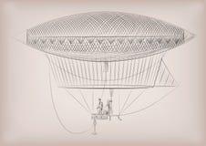 Flying dirigible, airship, blimp, on air. Vector beautiful horiz Royalty Free Stock Photos