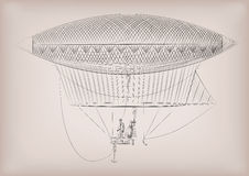 Free Flying Dirigible, Airship, Blimp, On Air. Vector Beautiful Horizontal Closeup Side View Vintage Styled Linear Illustration Royalty Free Stock Photos - 88449998