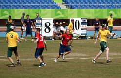 Flying Disc Competition - Australia versus England Stock Photos