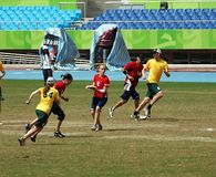 Flying Disc Competition - Australia versus England Stock Images