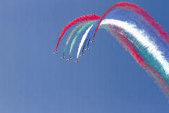 Flying display and aerobatic show of The Al Fursan UAE Stock Images
