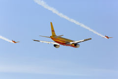 Flying display and aerobatic show of DHL aircrafts in Bahrain Stock Image