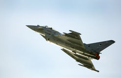 Flying display and aerobatic show of RAF Typhoon team in Bahrai Stock Photo