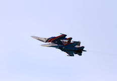 Flying display and aerobatic show of Russian Knights in Bahrain International Airshow Royalty Free Stock Image