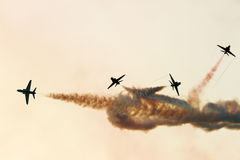 Flying display and aerobatic show of Saudi Hawks Display team in Bahrain International Airshow Royalty Free Stock Image